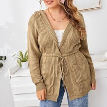 Plus Cable Knit Drawstring Hooded Cardigan
