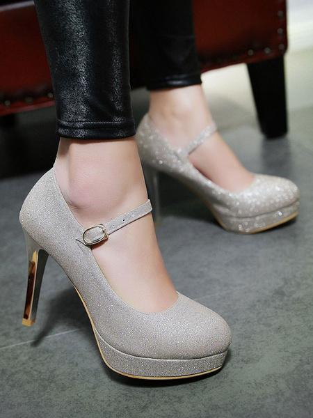 Milanoo Zapatos de tacon alto de plataforma con cordones de mujer de tacon alto Mary Jane Shoes Gold Party Shoes