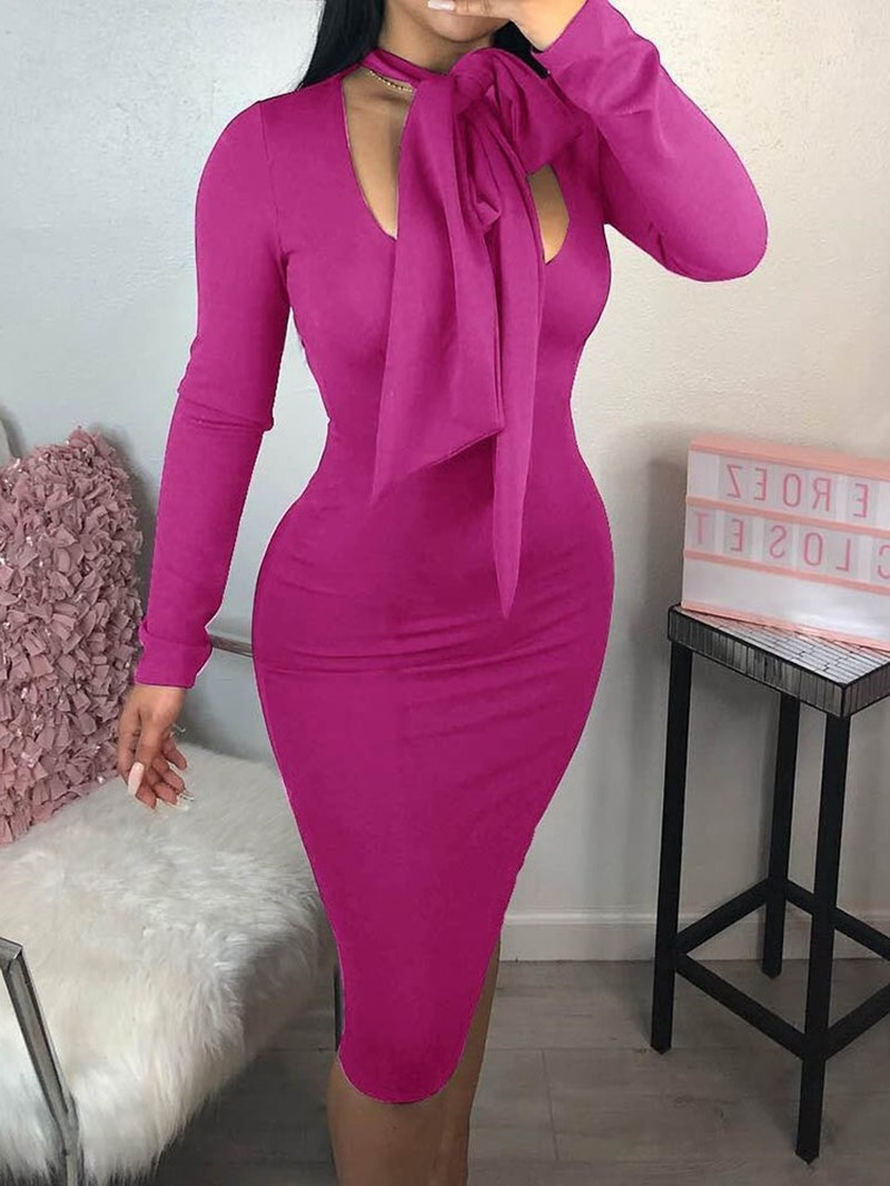Ericdress Long Sleeve Mid-Calf Lace-Up Collar Bodycon Dress