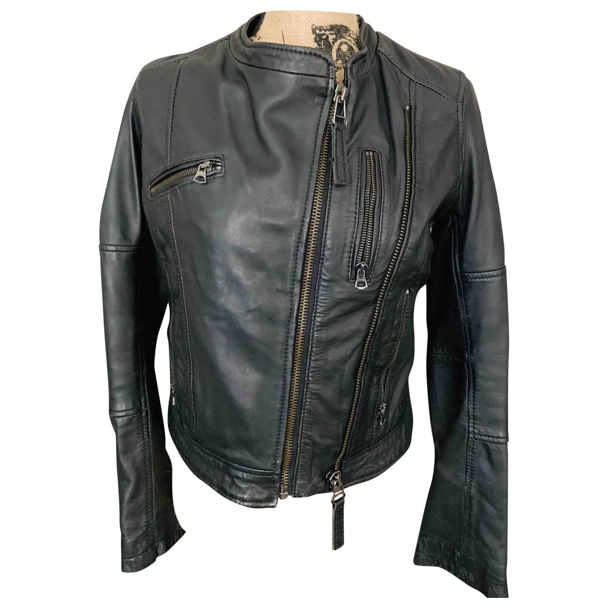 Levis - Blouson   pour femme en cuir - noir