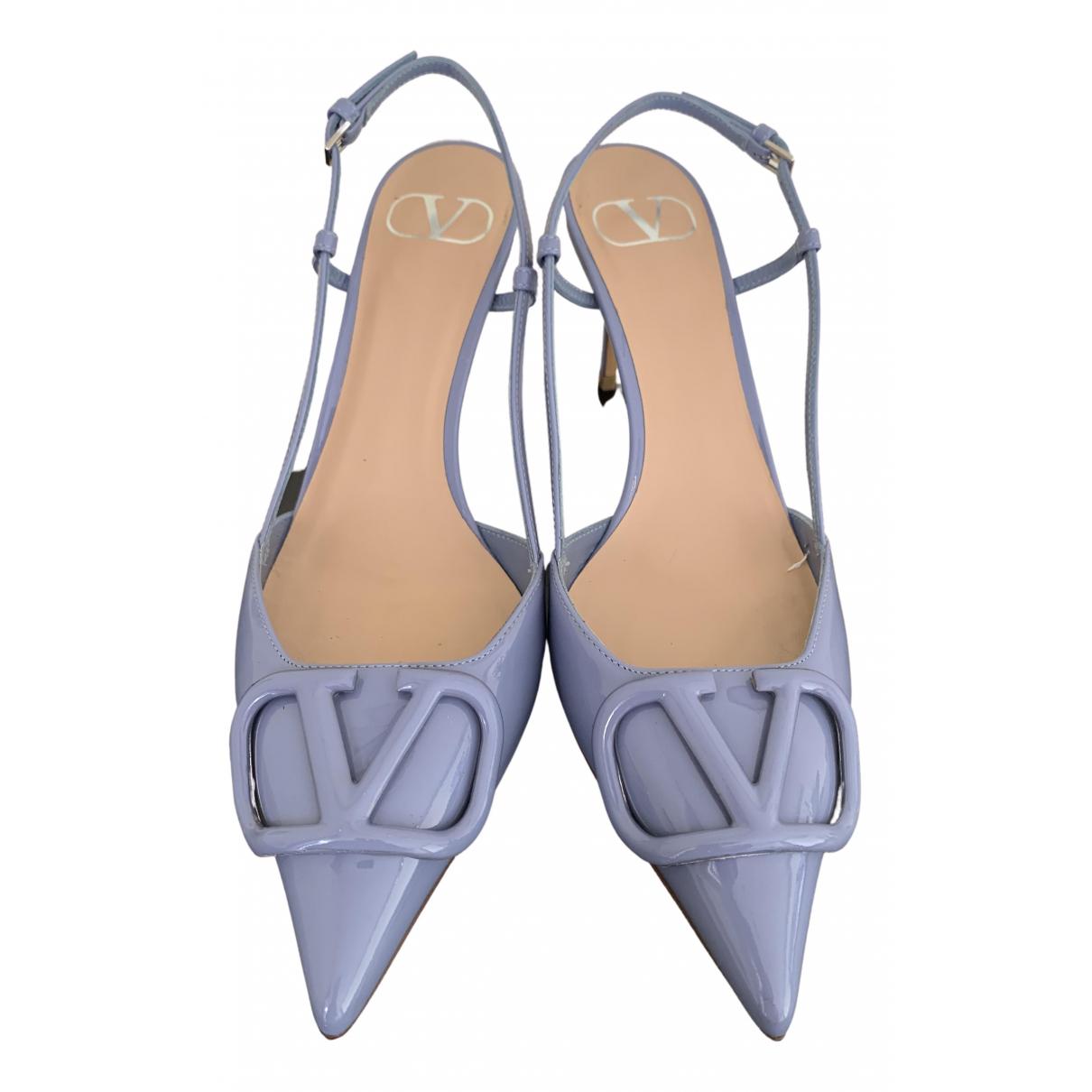 Valentino Garavani VLOGO Blue Patent leather Heels for Women 37.5 IT