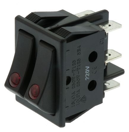 ZF Double Pole Single Throw (DPST), On-None-Off Rocker Switch Panel Mount
