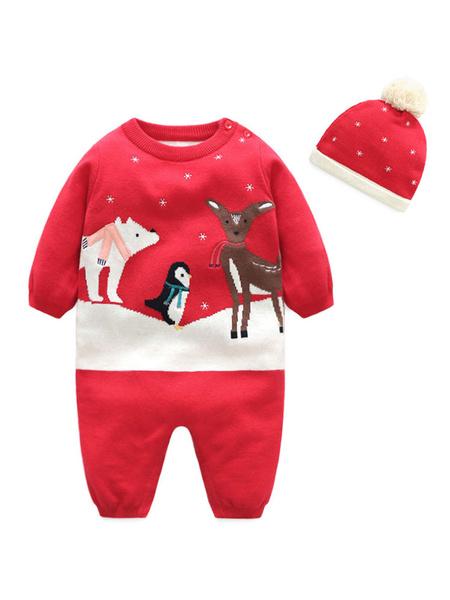 Milanoo Kigurumi Pajamas Onesie Red Knit Padded Toddler Christmas Jumpsuit