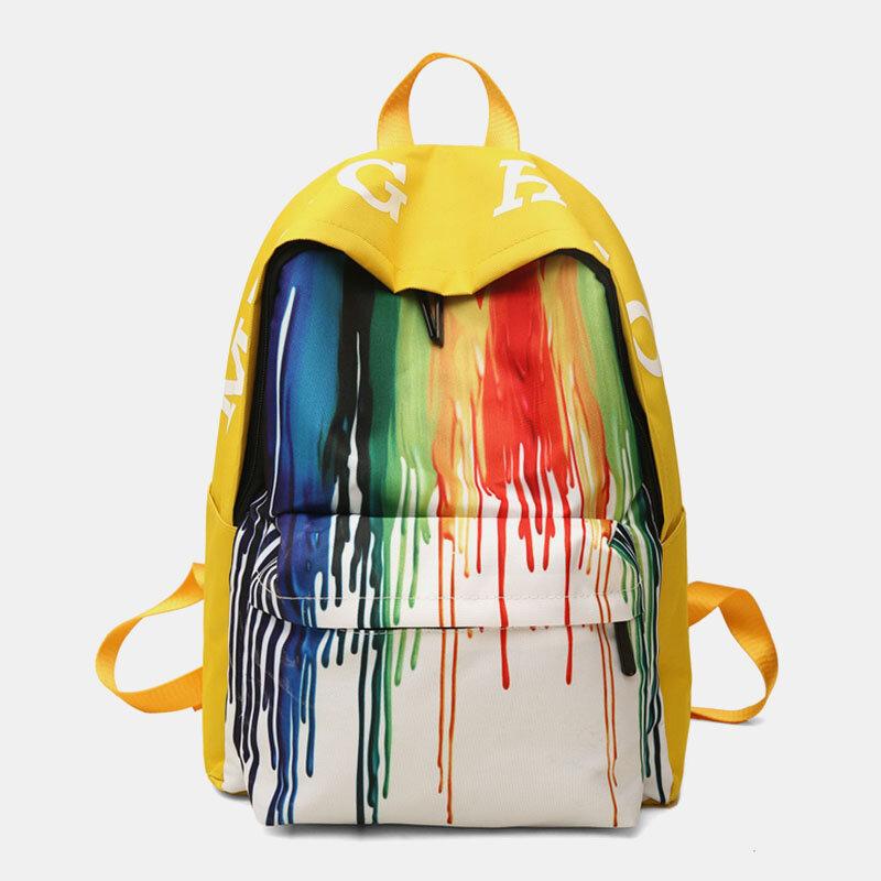 Women Ink Zipper Canvas LargeCapacityCasual School BagBackpack