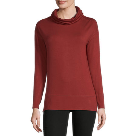 Liz Claiborne Womens Cowl Neck Long Sleeve Tunic Top, Small , Red