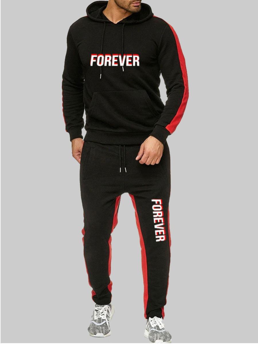 LW lovely Sportswear Hooded Collar Letter Print Patchwork Black Men Two-piece Pants Set
