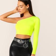 Neon gelbes Crop T-Shirt mit einer Schulter
