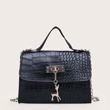 Bolsa cartera con solapa con diseño de cocodrilo con diseño metalico
