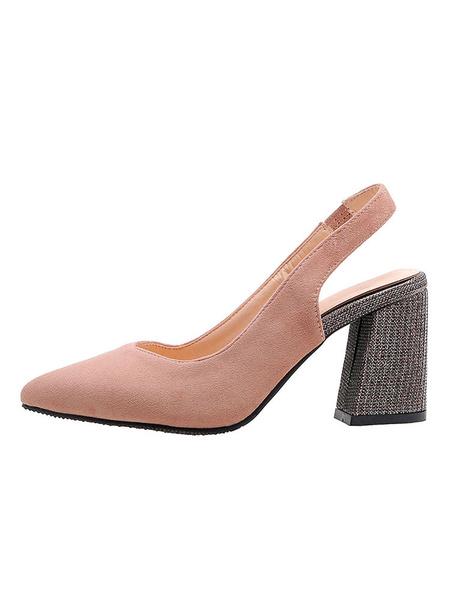 Milanoo Woman\'s V-cut Slingback Pumps High Heels Pointed Toe Chunky Heel Plus Size Shoes