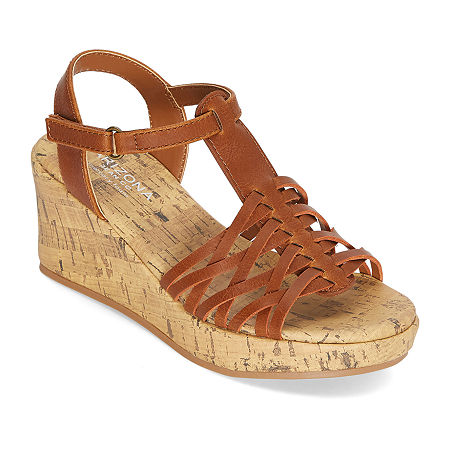 Arizona Little Kid/Big Kid Girls Scout Wedge Sandals, 3 Medium, Brown