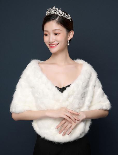 Milanoo Chaqueta nupcial del invierno del chal de la piel sintetica del abrigo de la boda