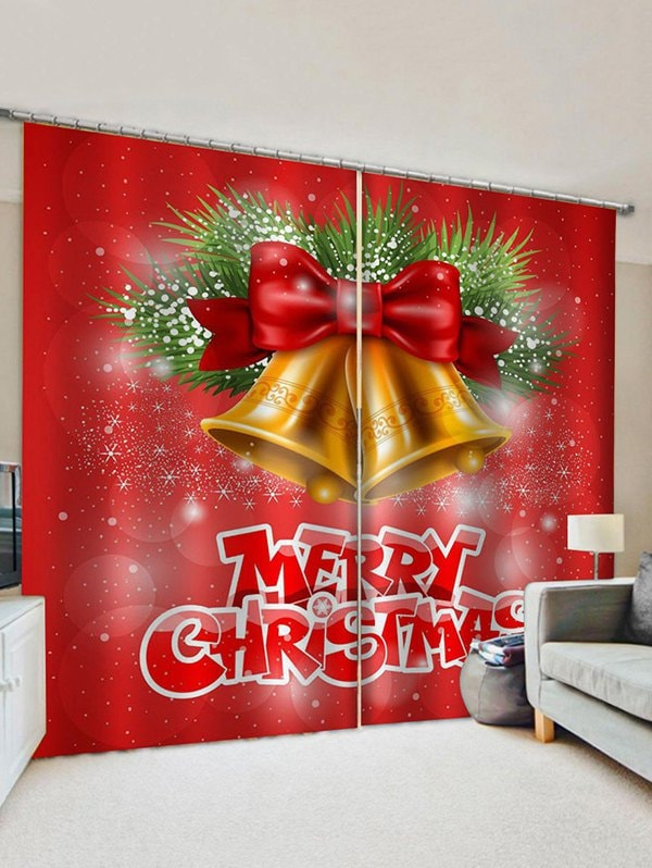 2 Panels Christmas Bells Bowknot Letters Print Window Curtains
