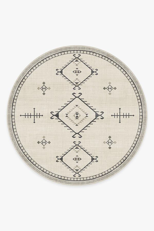 Washable Rug Cover & Pad | Damali Black & White Rug | Stain-Resistant | Ruggable | 8' Round