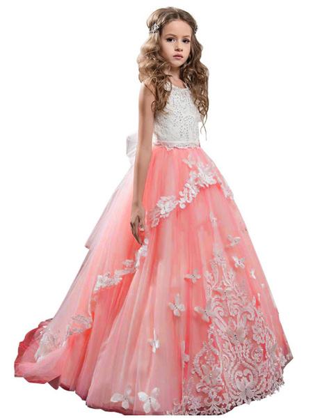 Milanoo Vestidos de niña de flores Cuello de joya Sin mangas Mariposa Vestidos de princesa formales para niños