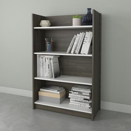 Nexera 352148 Chrono Collection Bookcase with 4 Shelves  2 Adjustable Shelves  in Bark Grey &