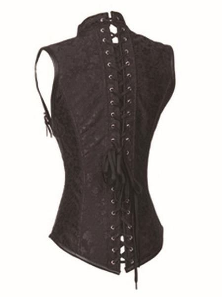 Milanoo Brown Retro Corset Metallic Buckle Jacquard Steampunk Vintage Costume For Women