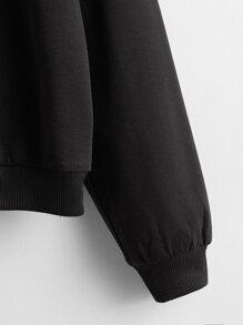 Drop Shoulder Heart Print Sweatshirt