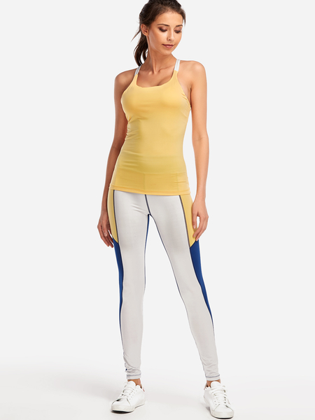 Yoins Yellow Backless Bodycon 2-piece Sports Camis & Pants