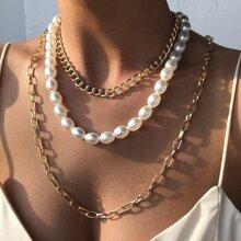 3 Stuecke Halskette mit Kunstperlen