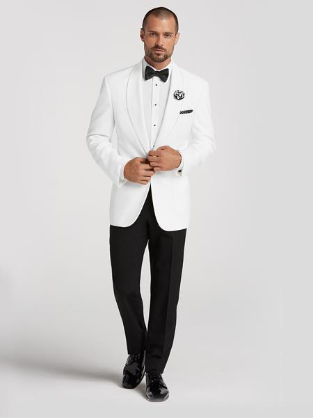 White Dinner Jacket Blazer Sport coat Tuxedo Shirt BowTie Black Pants