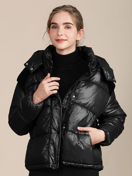 Milanoo Abrigos acolchados para mujer Ropa de abrigo de manga larga con capucha negra