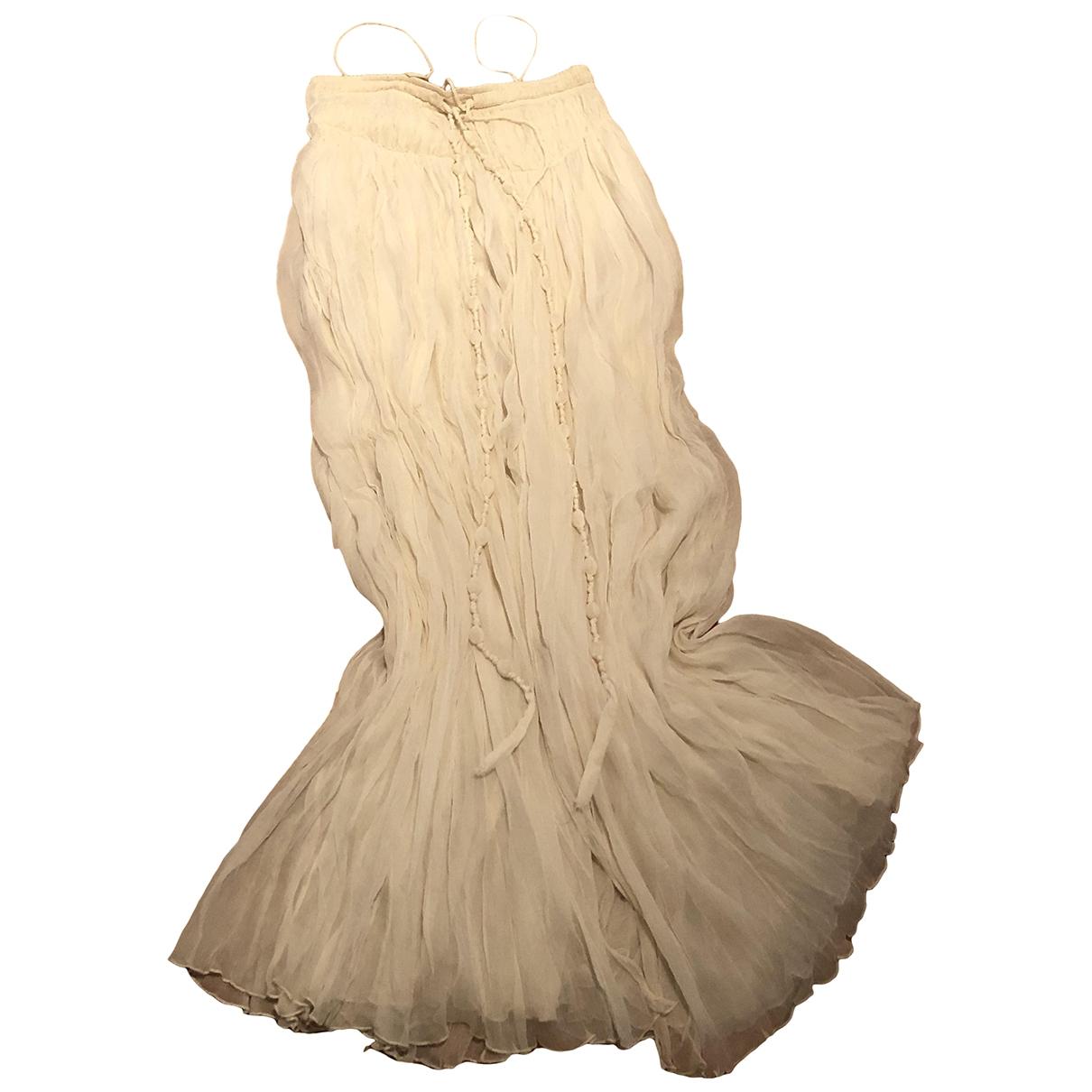 - Robe Hippie Chic pour femme en soie - blanc