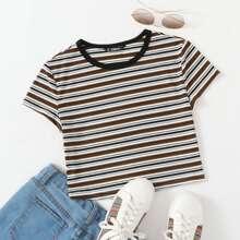 Strick Crop T-Shirt mit Streifen