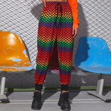 Ombre Checkerboard Tie Front Sweatpants