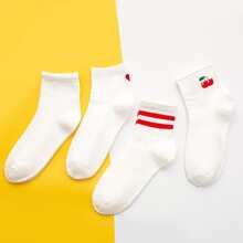 4 Paare Socken mit Streifen Muster