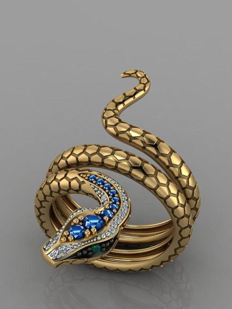 Vintage Snake-Shaped Unisex Ring Open Adjustable Multilayer Alloy Men Women Jewlery