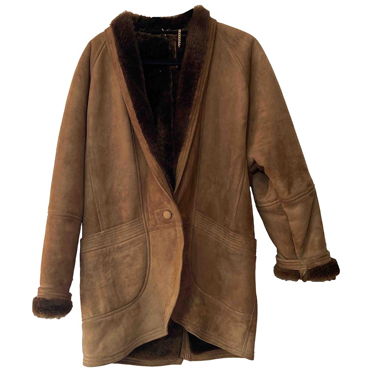 Shearling - Manteau   pour femme en cuir - marron