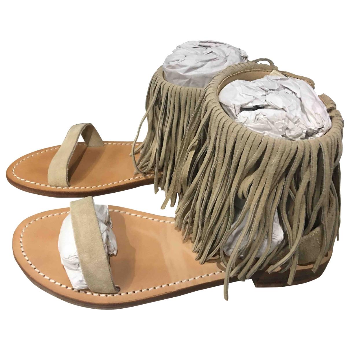 Twin Set - Sandales   pour femme en suede - ecru