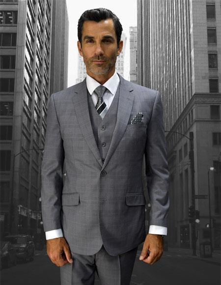 Men's Statement Plaid 2 Button Grey Double Breasted Vest Suit