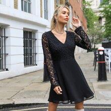 Open Back Guipure Lace Sleeve & Bodice Dress