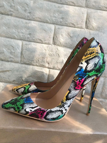 Milanoo Zapatos de vestir de tacon alto con punta de serpiente en punta para mujer, en color verde, zapatos de vestir