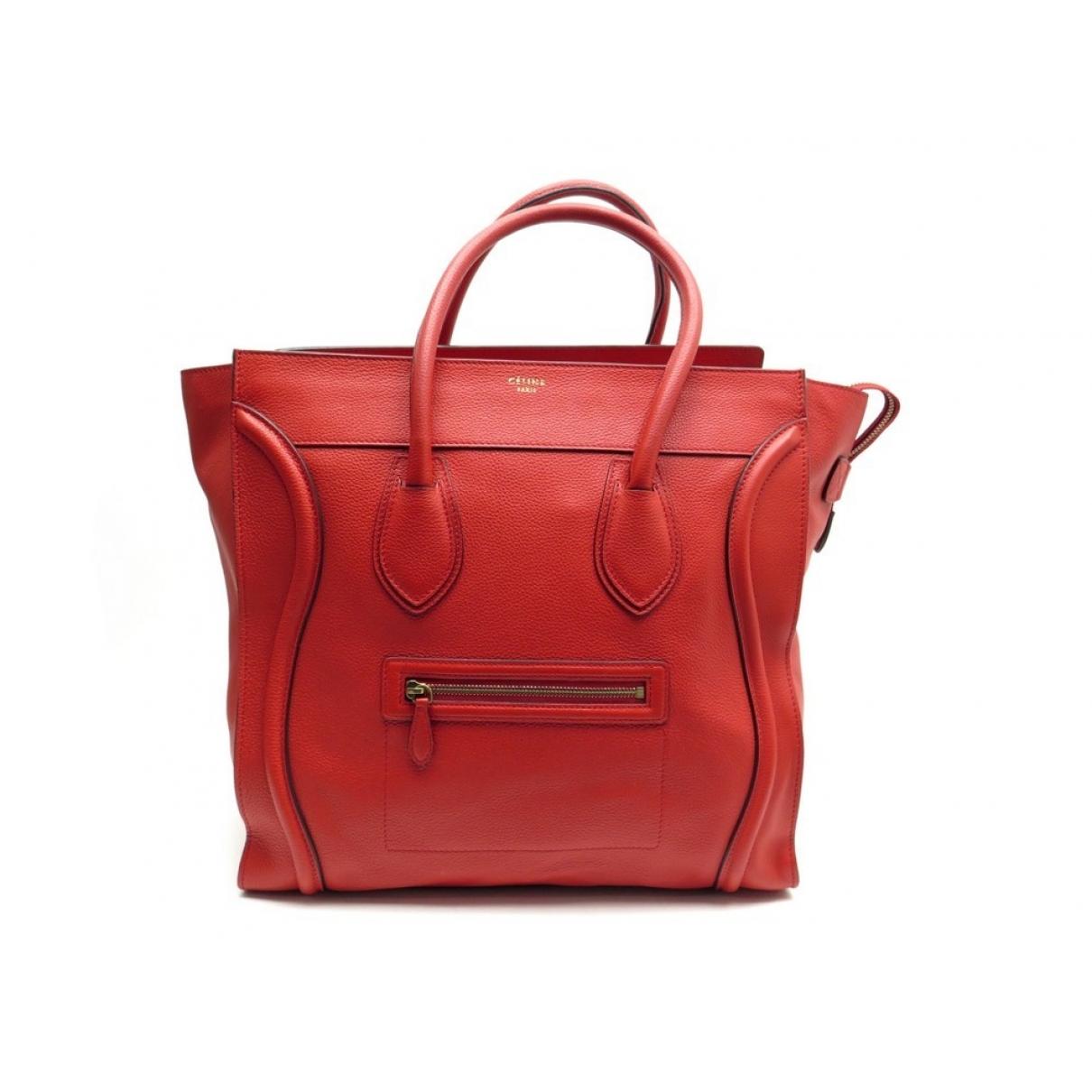 Celine - Sac a main Luggage pour femme en cuir - rouge