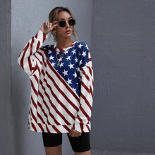 Drop Shoulder Stars and Stripes Print Pullover