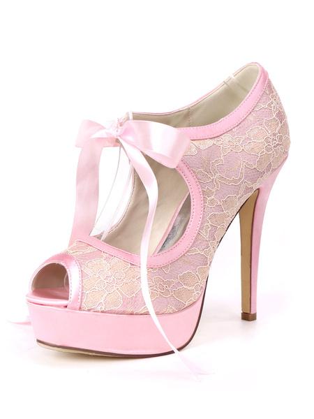 Milanoo Lace Wedding Shoes Ivory Peep Toe Lace Up Stiletto Heel 4.9 Bridal Shoes