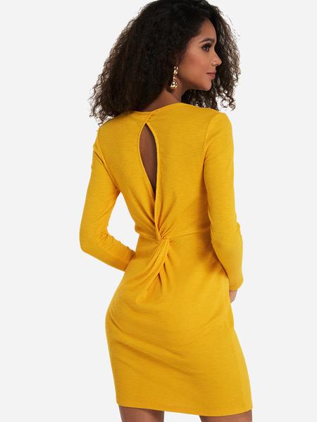 Yoins Yellow Twist Cut Out Long Sleeves Mini Dress