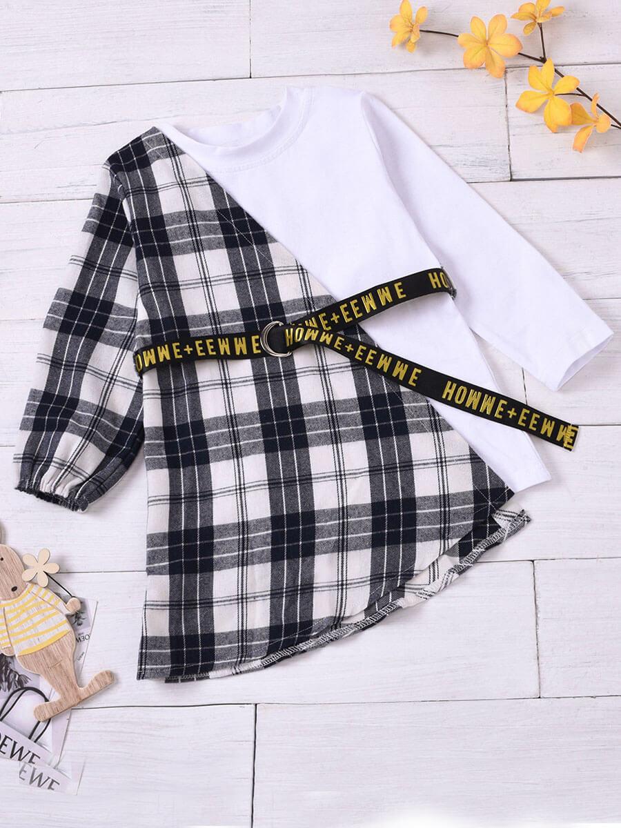 LW Lovely Street O Neck Grid Print Patchwork White Girl Knee Length Dress