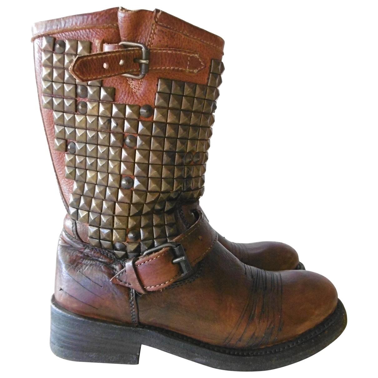 Ash - Bottes   pour femme en cuir - marron