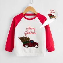 Toddler Girls Christmas Car Reversible Sequin Sweatshirt