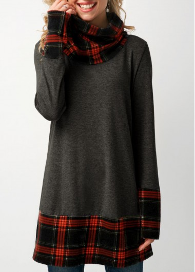 Long Sleeve Plaid Print Cowl Neck Sweatshirt - M