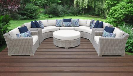 Coast Collection COAST-08e-WHITE 8-Piece Patio Set 08e with 1 Armless Chair   2 Cup Table   1 Round Coffee Table   2 Curved Armless Chair   2 Club