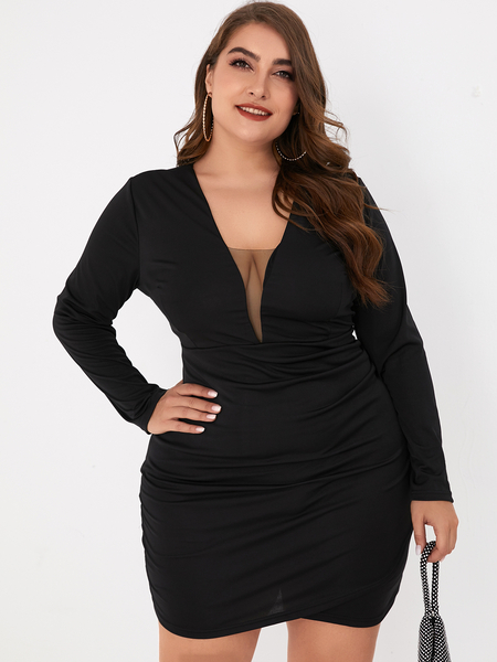 Yoins Plus Size Black Mesh Deep V Neck Long Sleeves Dress