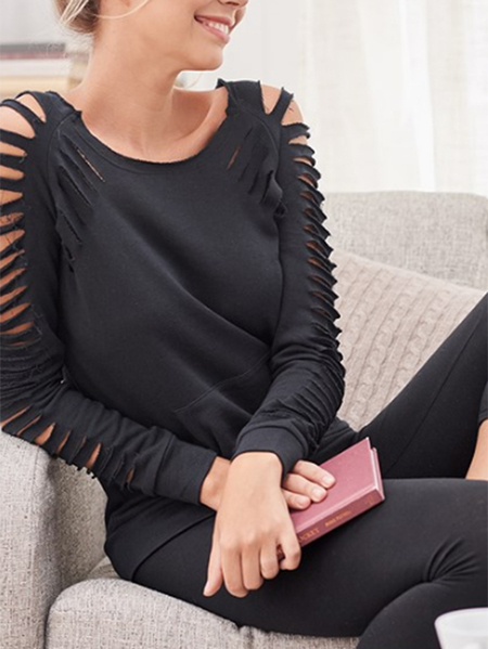 Yoins Black Cut out Round neck Long sleeves Tee