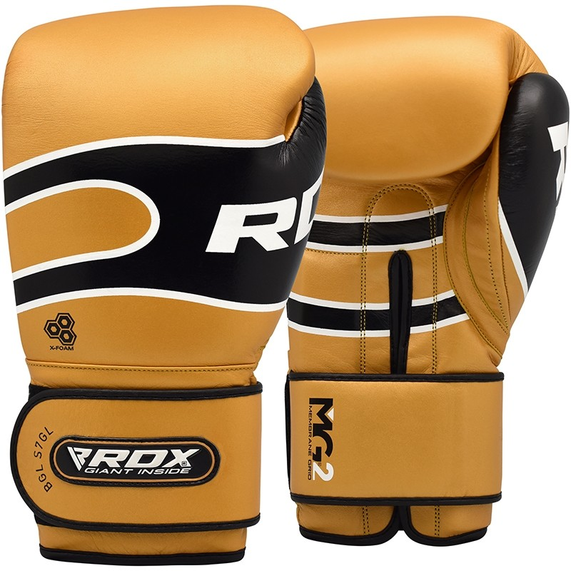 RDX S7 Bazooka Leather Golden 16oz Boxing Sparring Gloves Black Hook and Loop Men and Women Muay Thai Kickboxing
