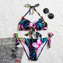 Bañador bikini con cordon lateral con estampado de planta