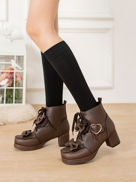 Milanoo Sweet Lolita Boots PU Leather Bows Heart Buckle Round Toe Deep Brown Lolita Shoes