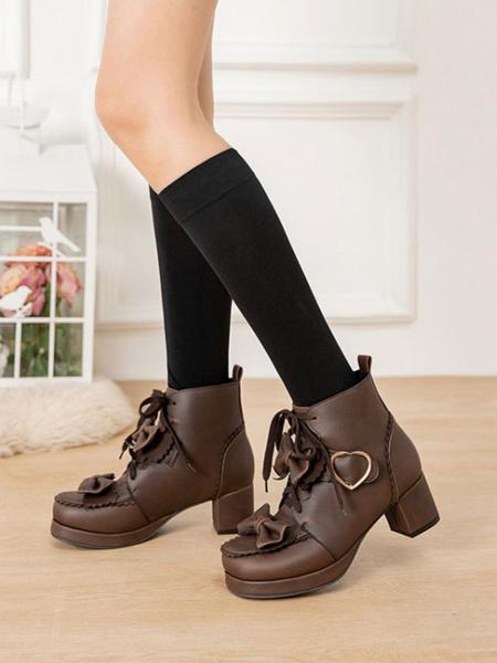 Milanoo Botas Sweet Lolita Arcos de cuero PU Hebilla de corazon Punta redonda Zapatos de Lolita de color marron oscuro